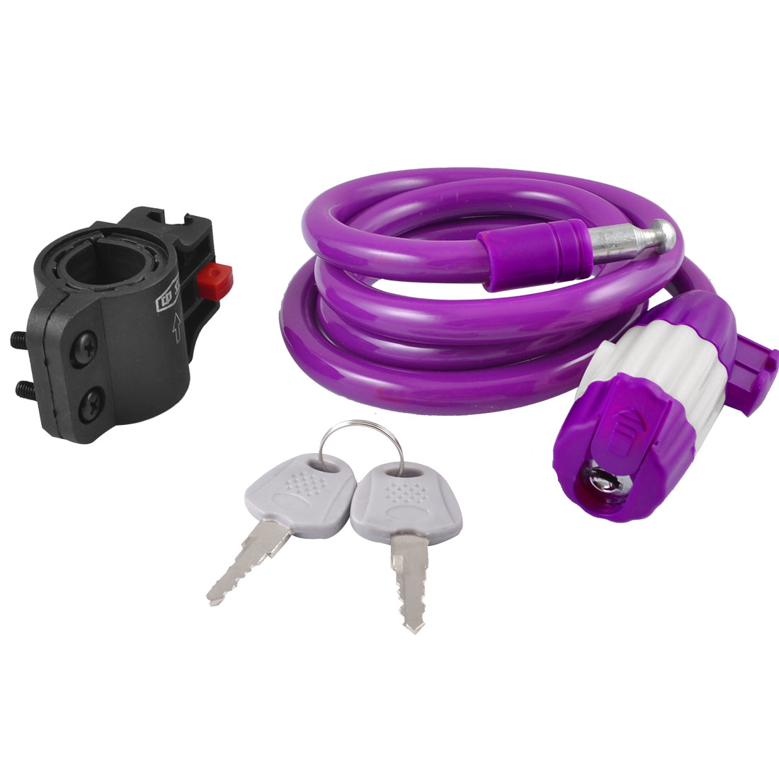 3.9Ft Purple Bike Motorcycle Safety Steel Wire Coiled Cable Lock + 2 Keys
