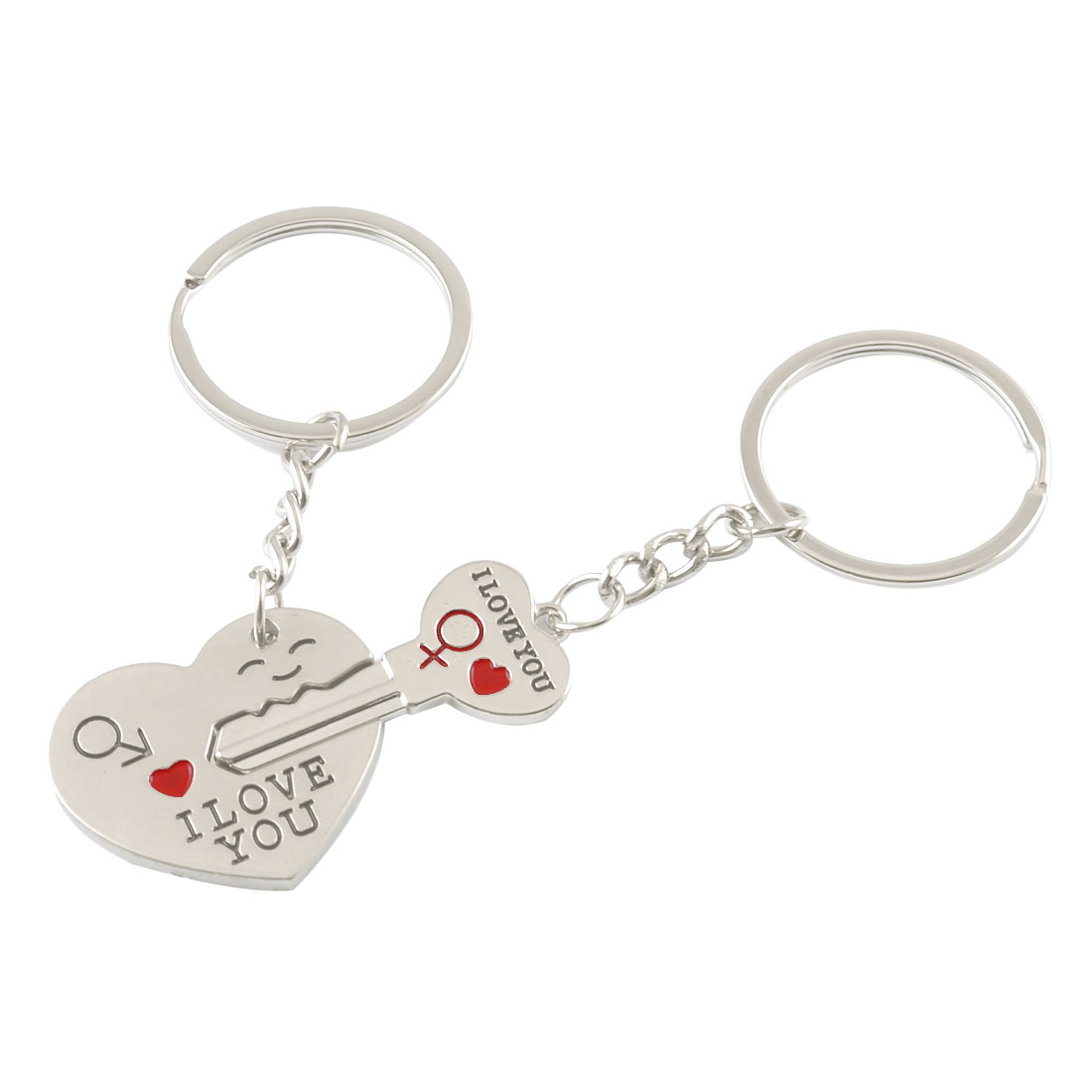 Pair Alloy I LOVE YOU Pattern Heart Key Pendant Lovers Couples Keyring Keychain
