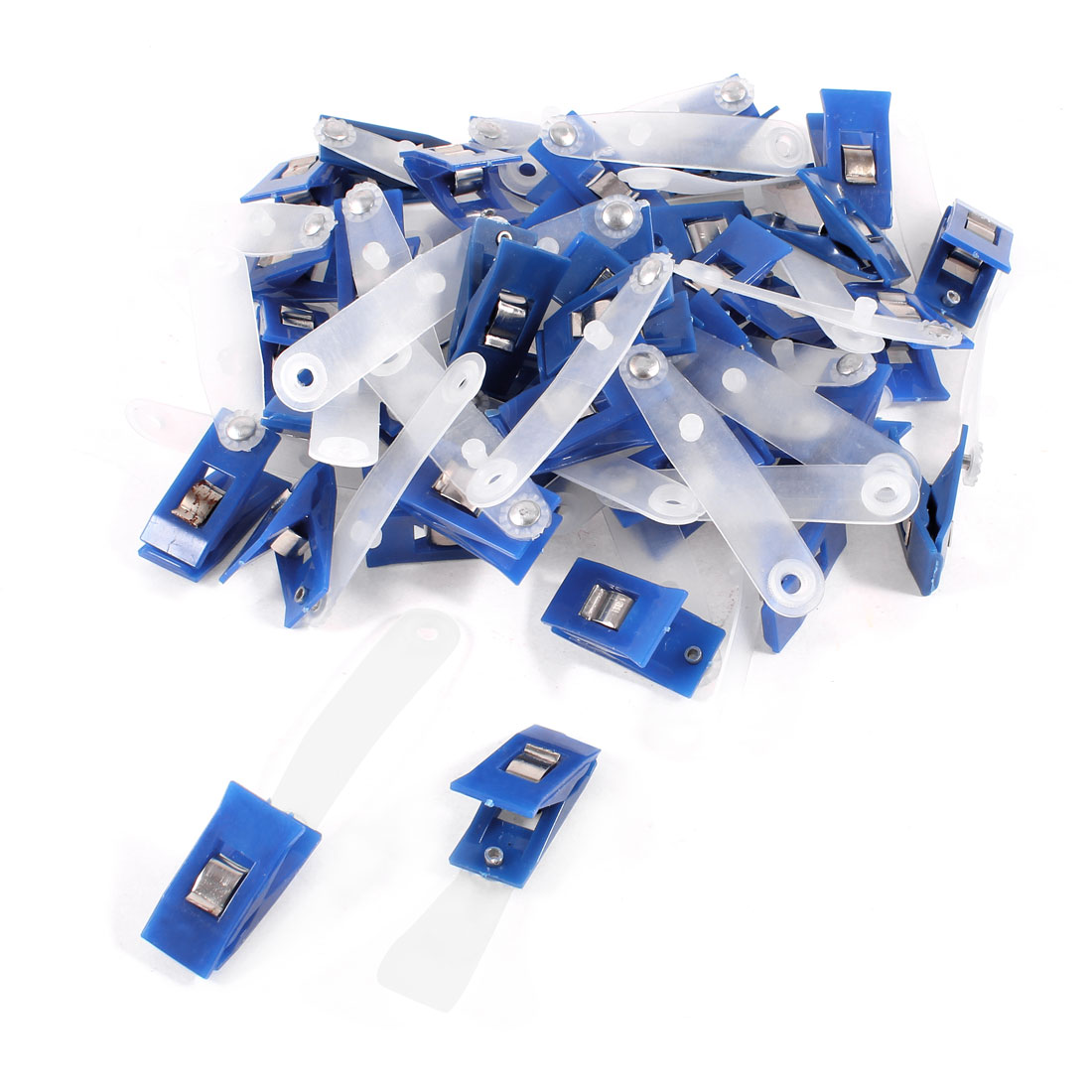 40 Pcs Plastic ID Card Holder Name Badge Clips Fastener Blue