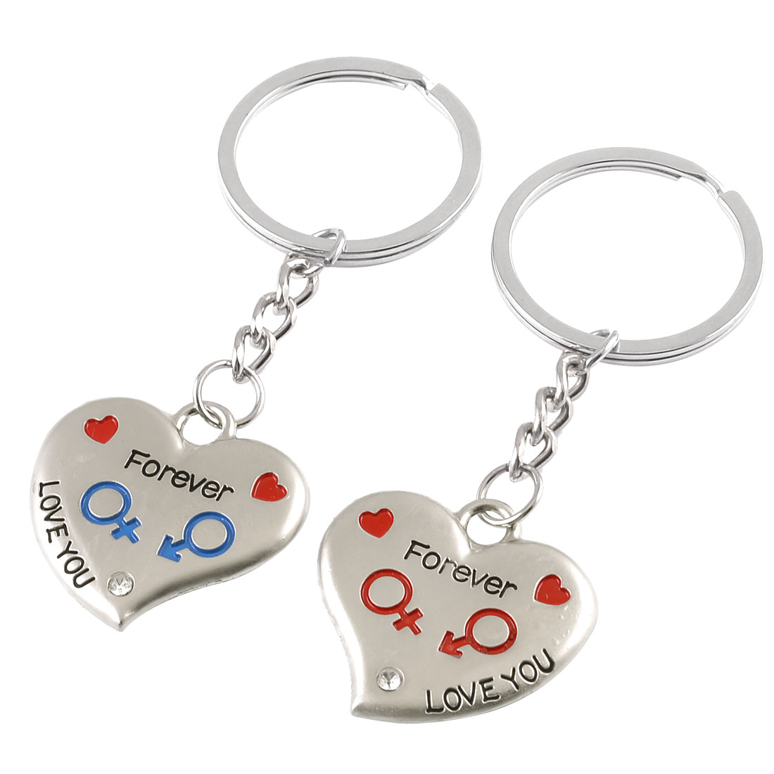 Pair Love You Forever Pattern Double Hearts Key Chain Keyring for Lovers Couples