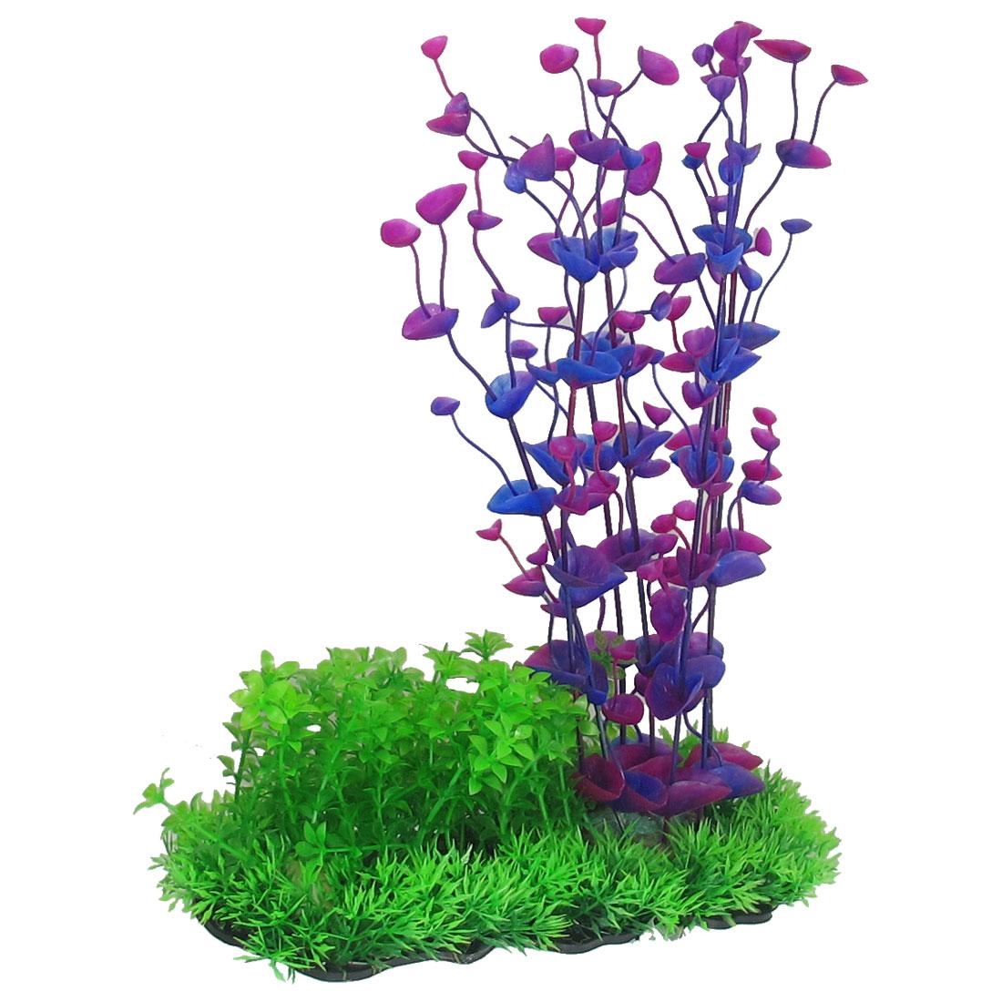 "12.2"" Height Aquarium Fish Tank Underwater Purple Blue Plastic Grass Plants"