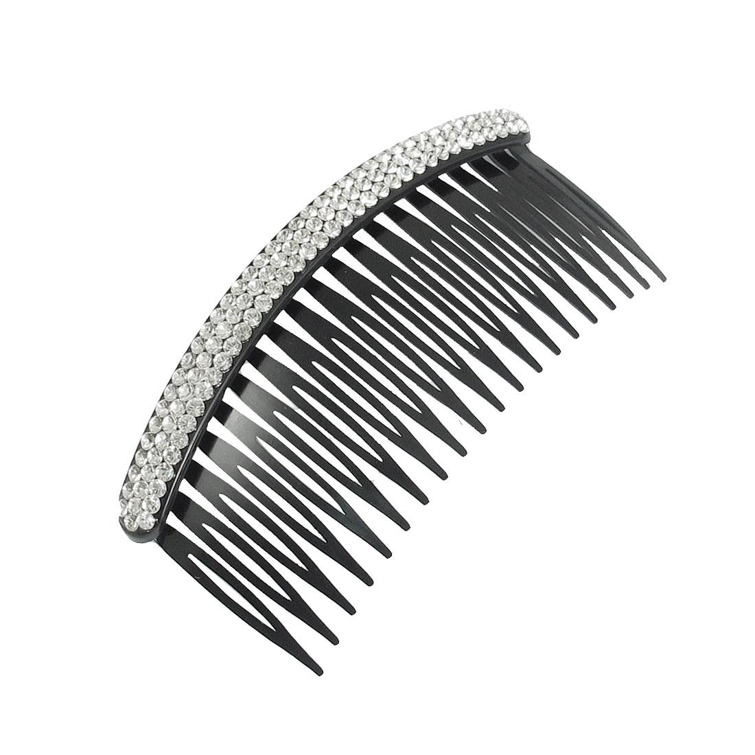 Silver Tone Stripe Rhinestone Plastic Black Hair Comb for Ladies