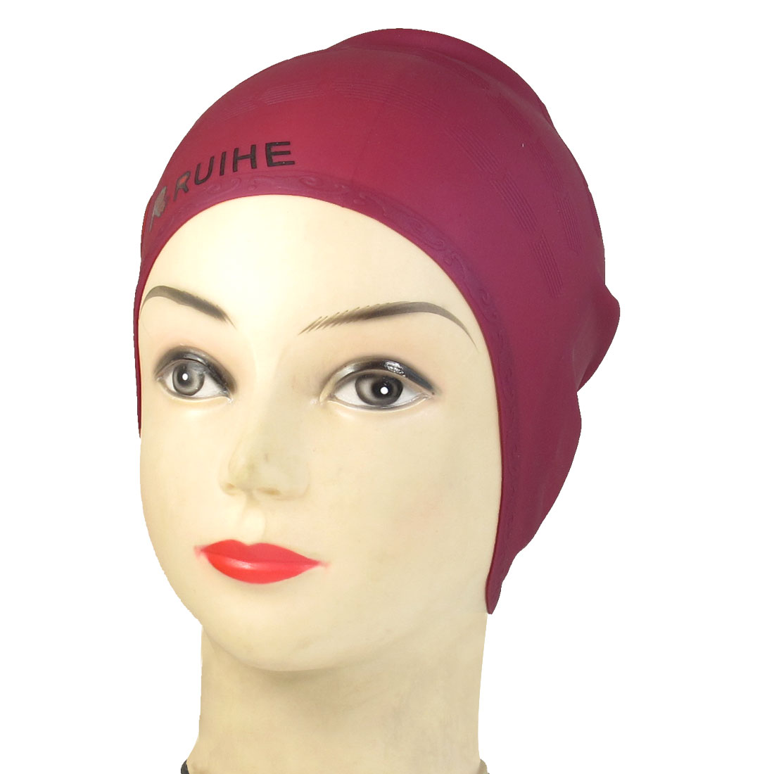 Adults Burgundy Embossment Pattern Silicone Ear Protection Swim Cap