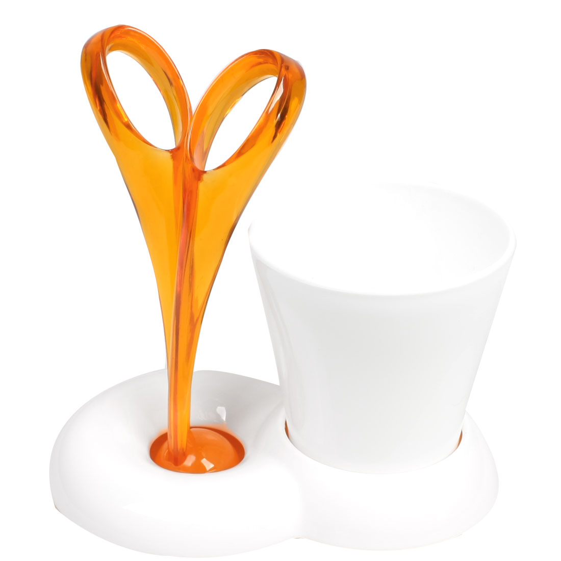 Orange White Plastic Toothbrush Toothpaste Holder Travel Set w Cup
