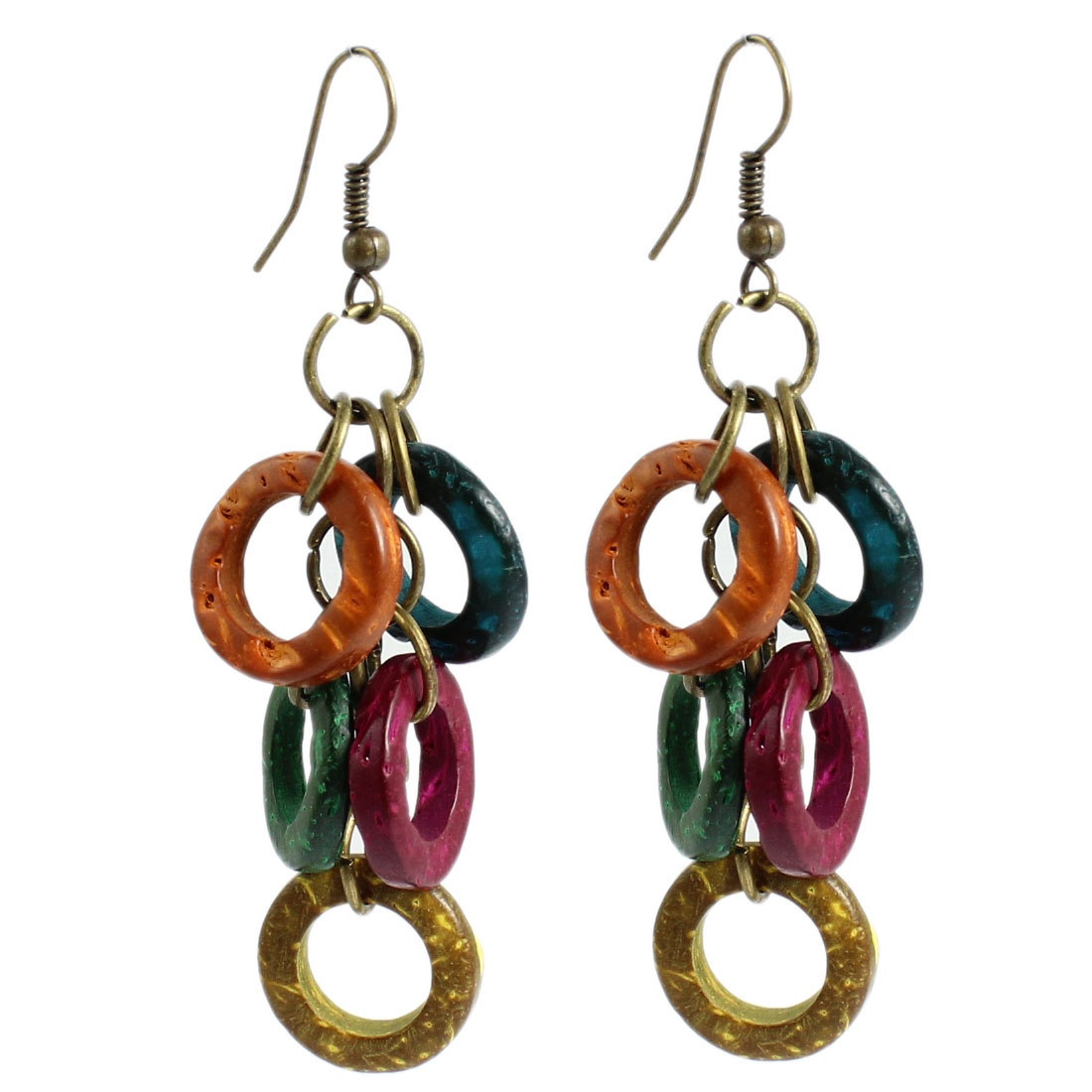 Lady Round Ring Design Wood Beads Pendant Fish Hook Earrings Assorted Color Pair