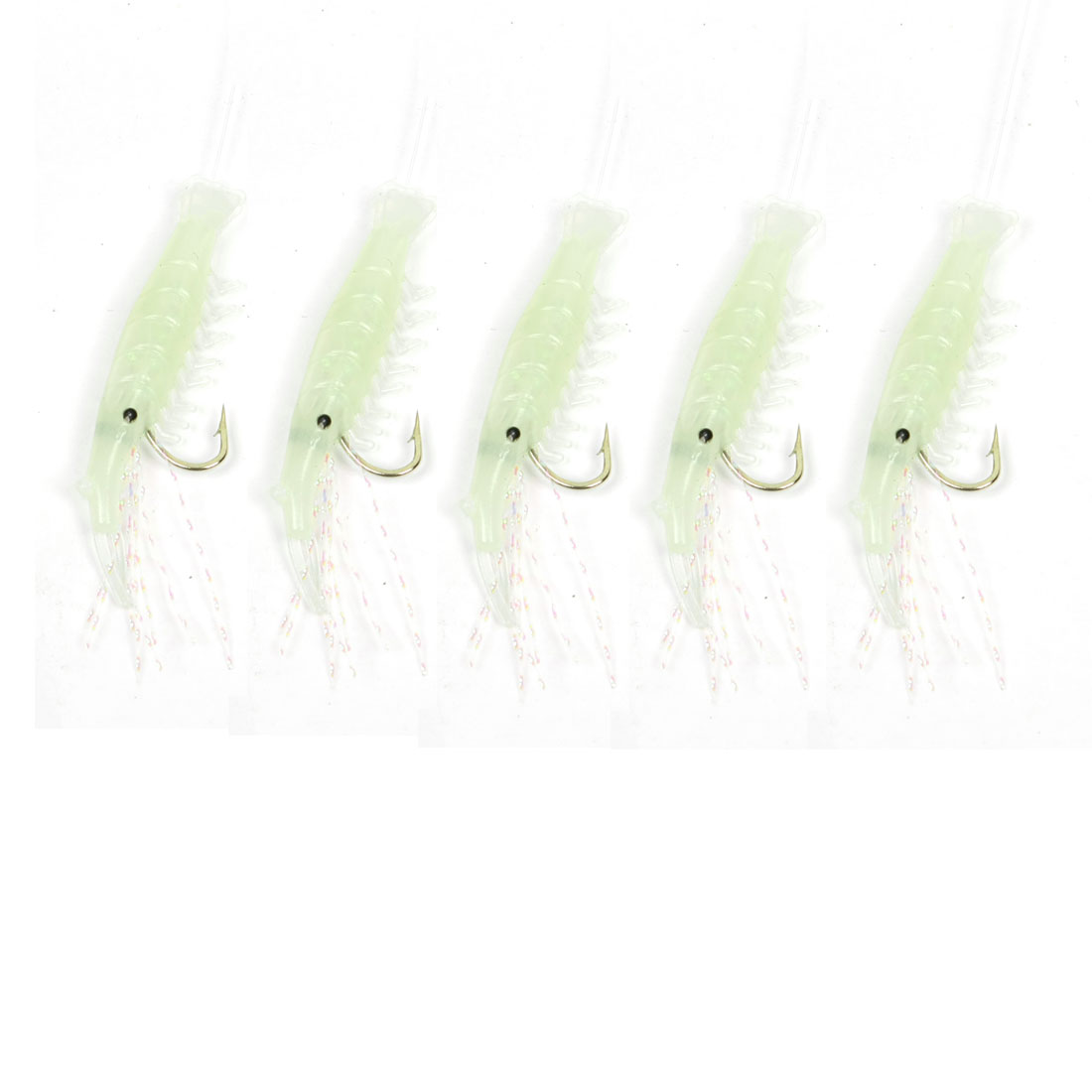 5 pcs Soft Silicone Shrimps Baits w Hook Imitation Lure Light Green