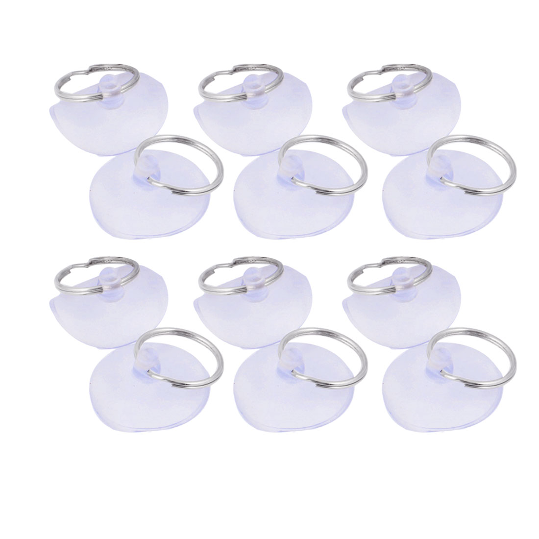 12 Pcs Clear Blue 40mm Dia PVC Metal Hook Home Bathoom Towel Suction Cups