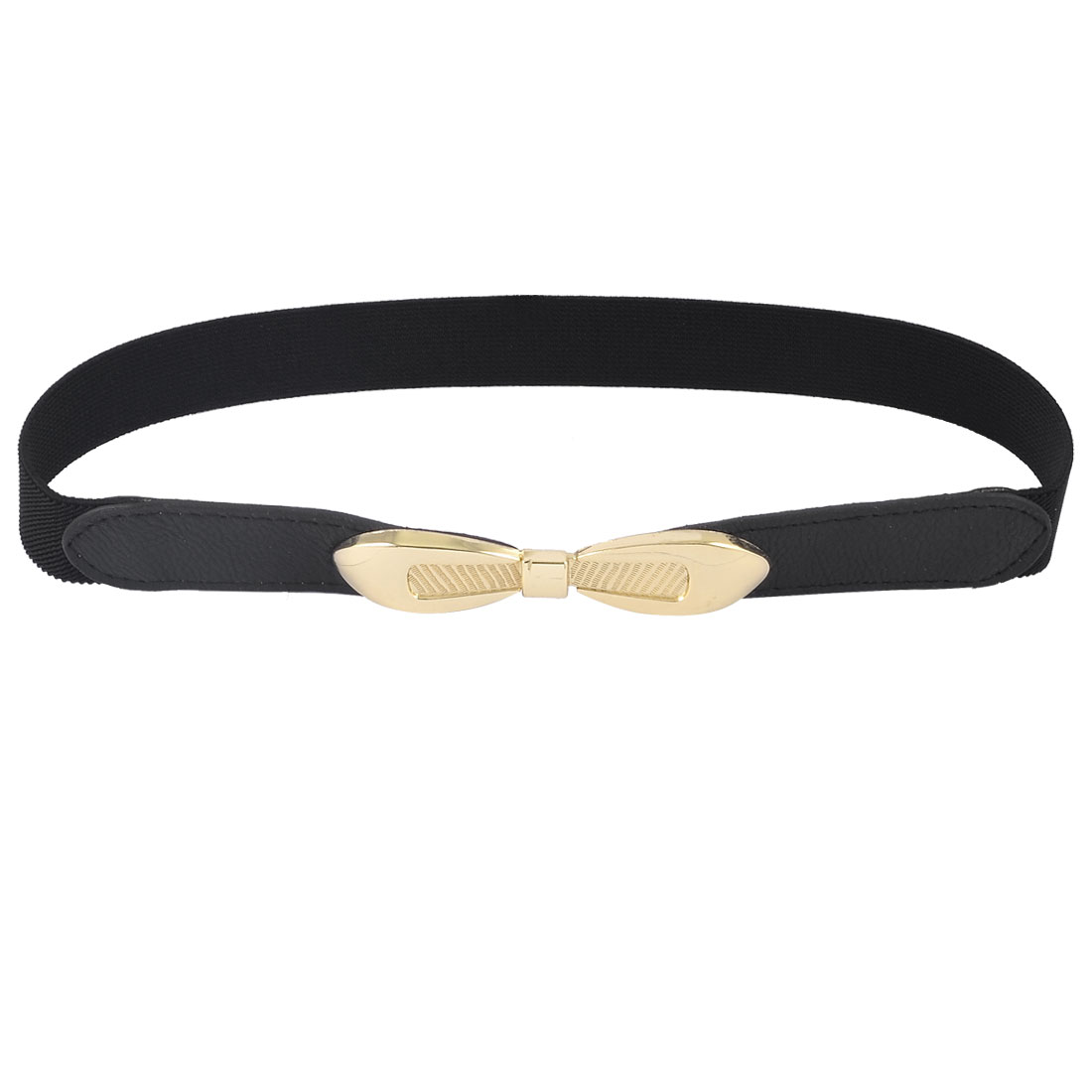 Lady Gold Tone Bowknot Interlock Buckle Solid Black Textured Elastic Cinch Belt