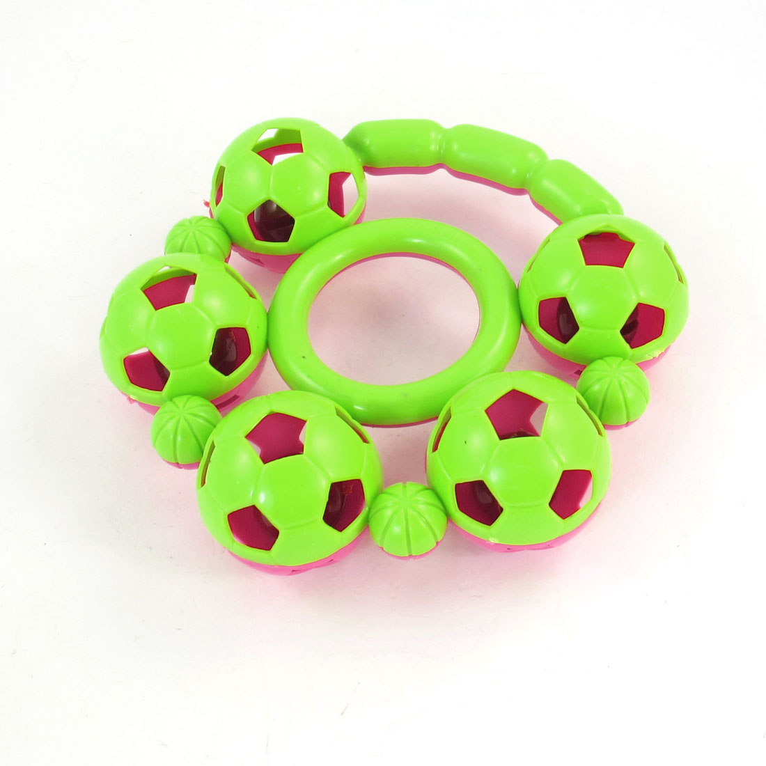 Pink Light Green Plastic Hand Shaking Bell Rattle Toy for Babies