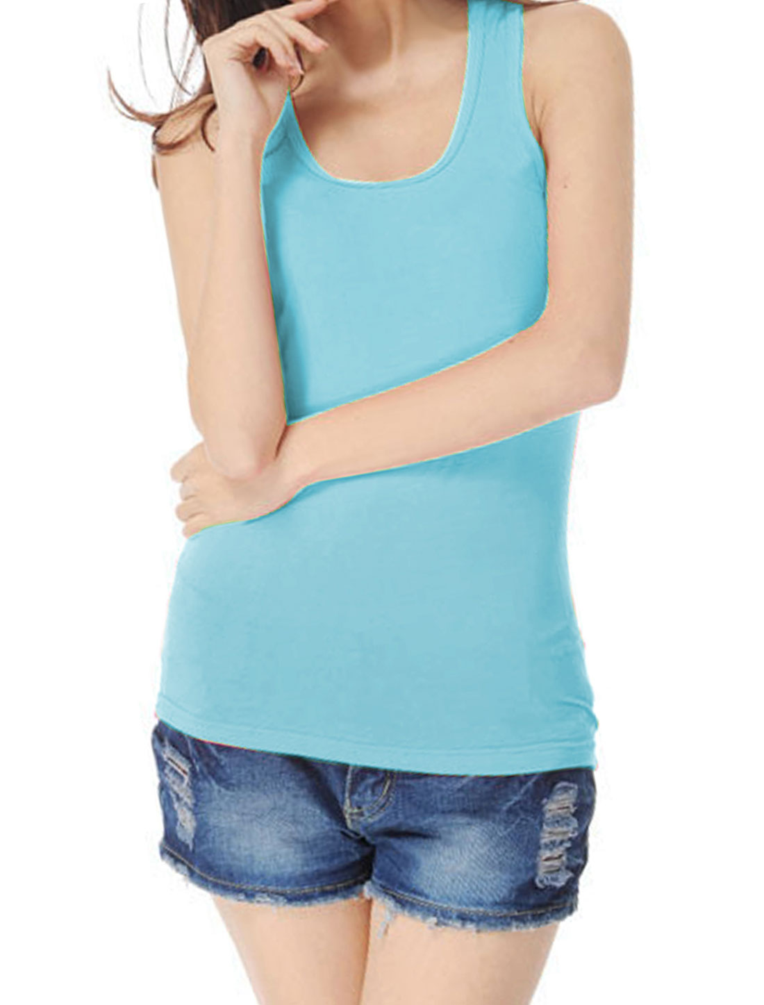 Woman Ribbing Pure Blue Stretch Closefitting Racer Back Tank Top XS