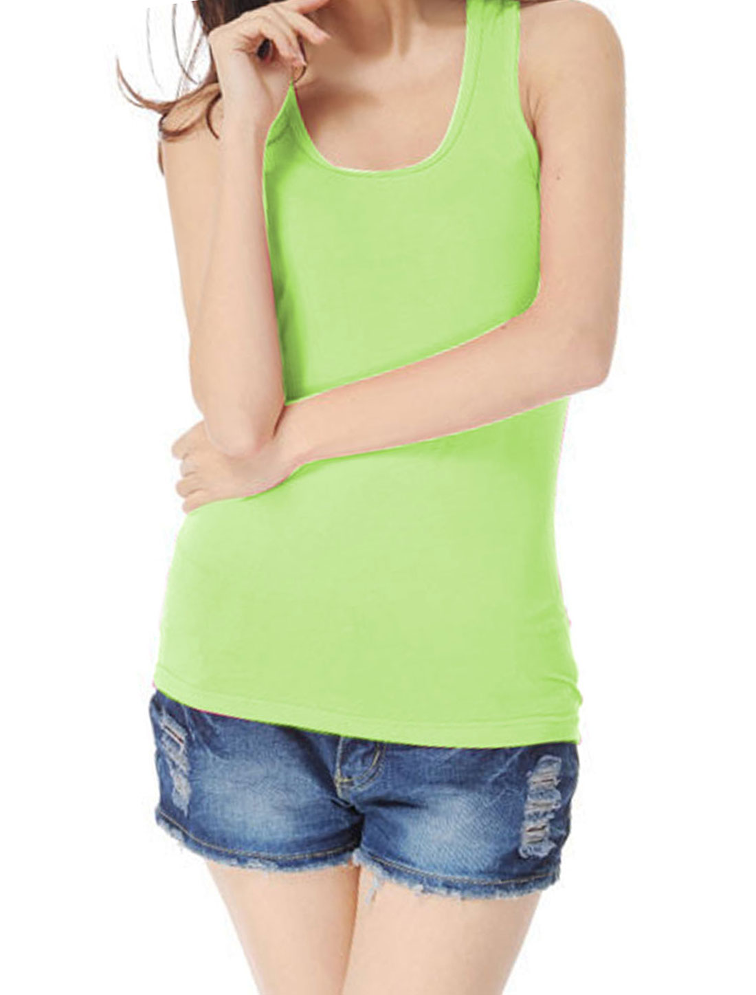 U Neck Ribbed Stretchy Racerback Tank Top Shirts Apple Green XS for Women