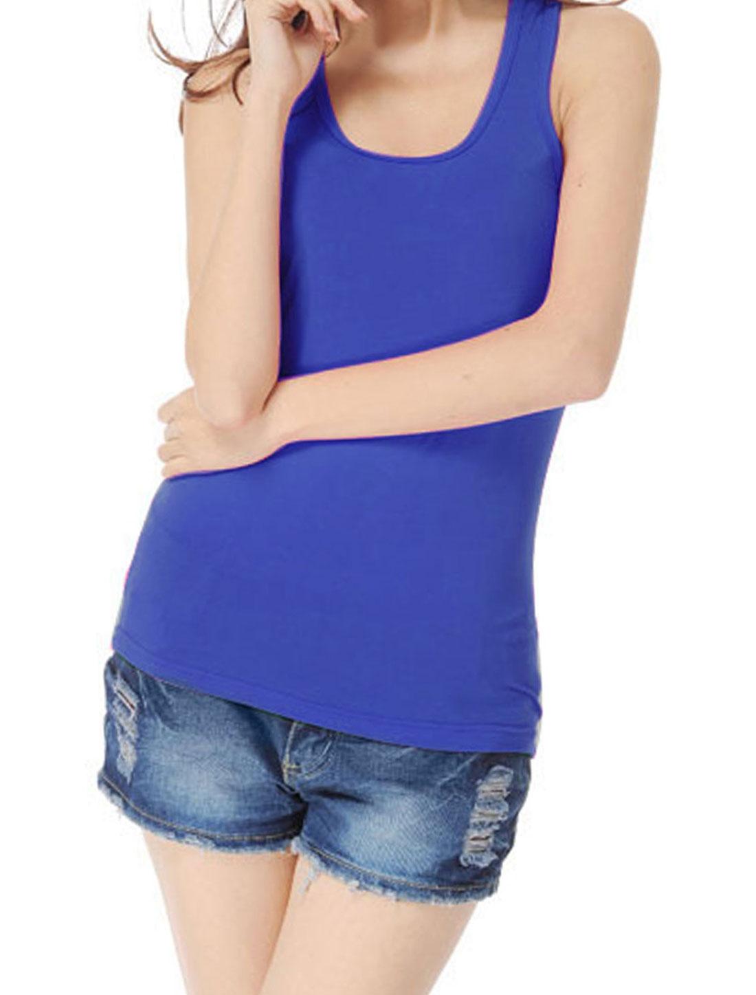 Ladies Solid Dark Blue Sleeveless Pullover Elastic Racerback Tank Top XS