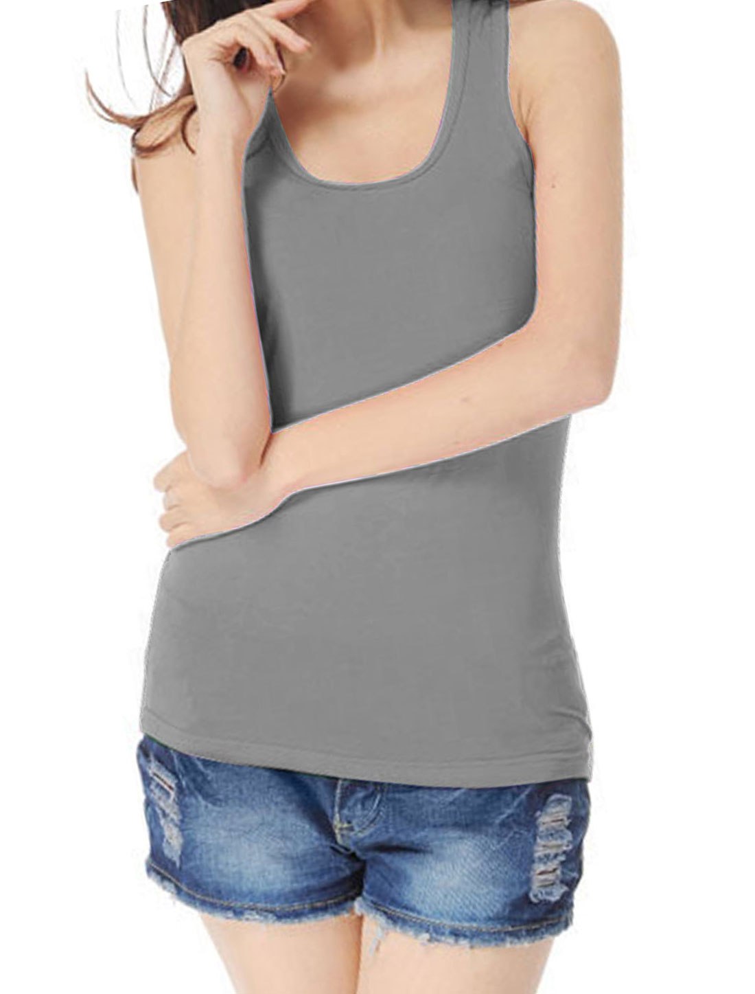 U Neck Ribbed Gray Stretchy Racerback Tank Top Shirt XS for Women
