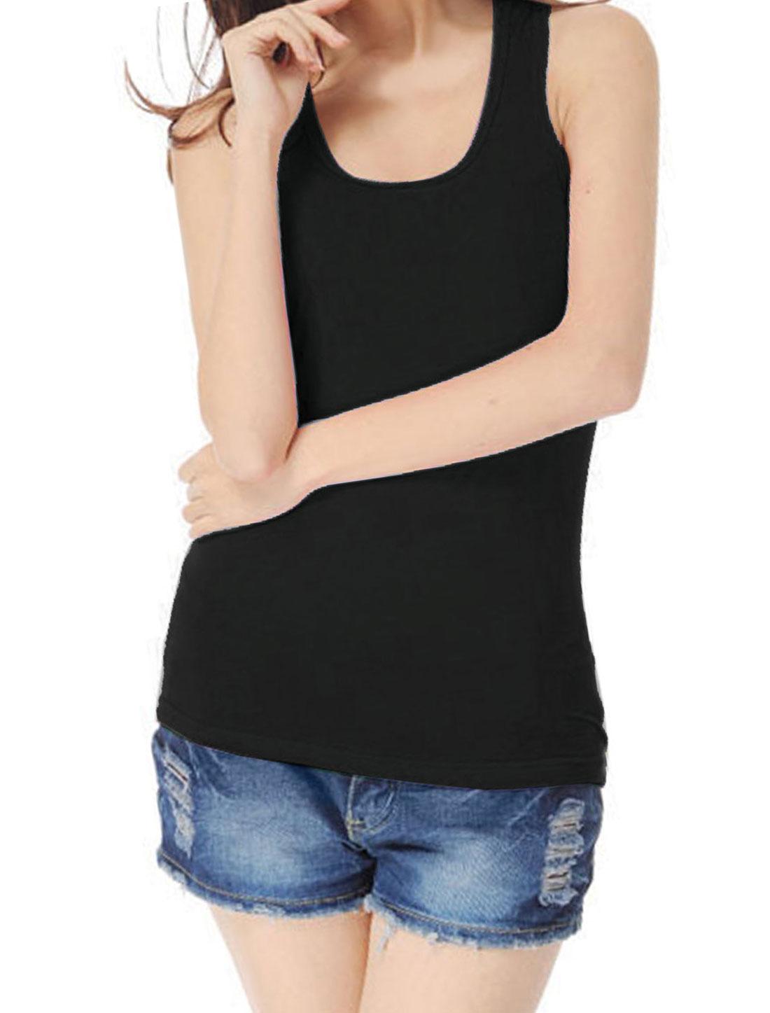 Woman Ribbing Pure Black Stretch Closefitting Racer Back Tank Top XS