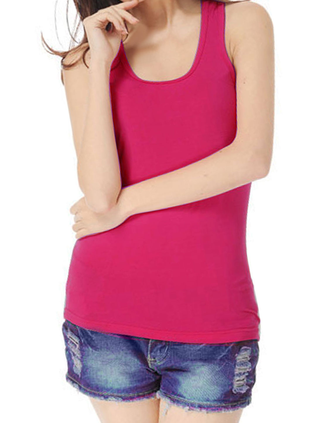U Neck Ribbed Fuchsia Stretchy Racerback Tank Top Shirt XS for Women