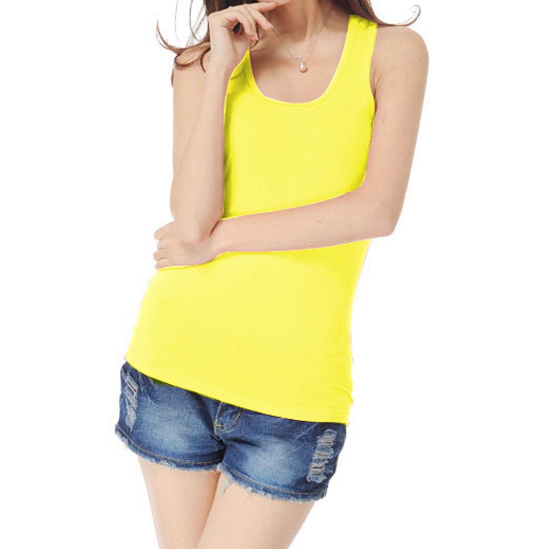Ladies Solid Yellow Sleeveless Elastic Racerback Tank Top XS