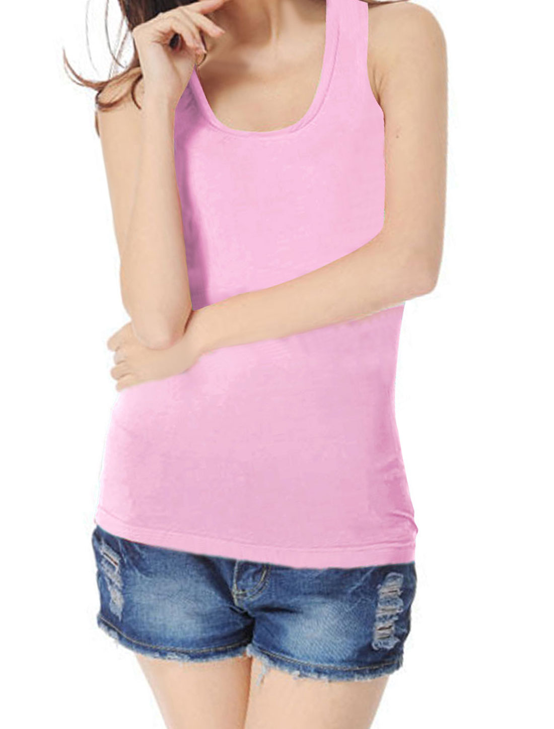 Woman Ribbing Pure Pink Stretch Closefitting Racer Back Tank Top XS