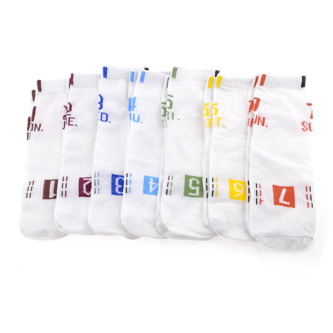 7 Pair Multicolor Numbers Pattern Stretchy Stockings Week Socks White for Man