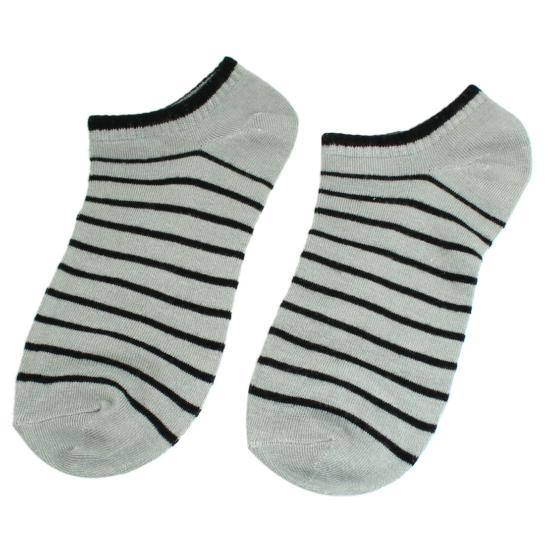 Pair Striped Pattern Elastic Ankle Low Cut Sports Socks Black Light Gray for Lady Man