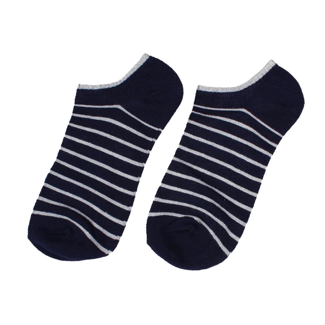 Man Pair Stripes Elastic Low Cut Ankle Summer Sports Socks Dark Blue Gray