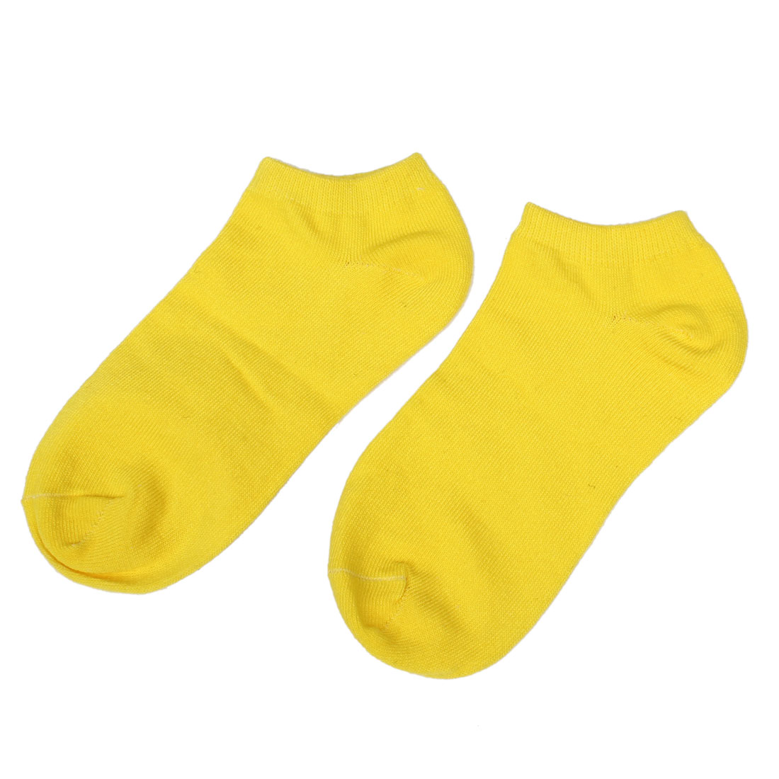 Lady Woman Stretchy Low Cut Ankle Socks Hosiery Pair Yellow