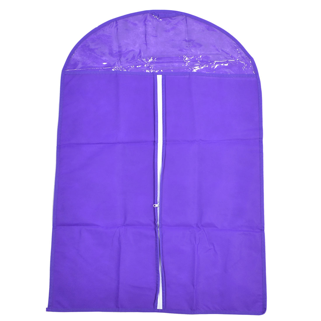 "23.6"" x 34.6"" White Zipper Closure Anti Dust Storage Suit Cover Bag Purple"