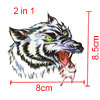 Tiles Ornament Black White Wolf Head Pattern Temporary Transfer Tattoos Sticker 2 in 1