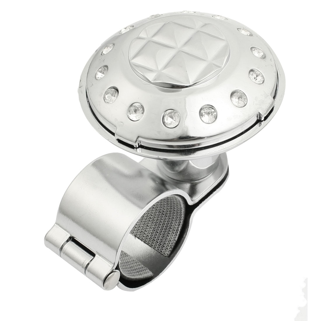 Square Pattern Car Power Handle Steering Wheel Spinner Knob Silver Tone