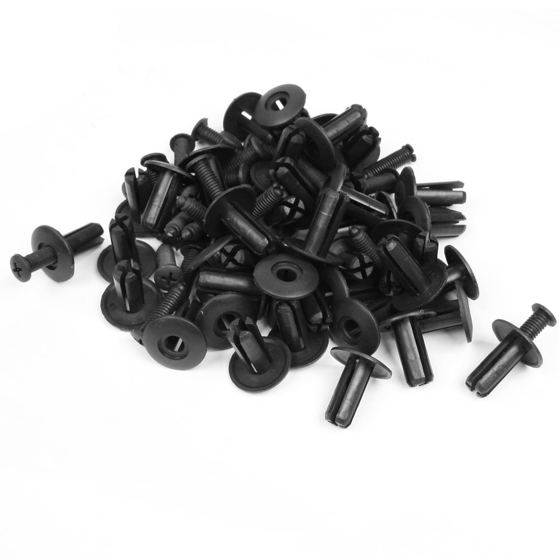50 Pcs Black Plastic Rivet Retainer Door Trim Clips Fastener 8mm Hole for Car