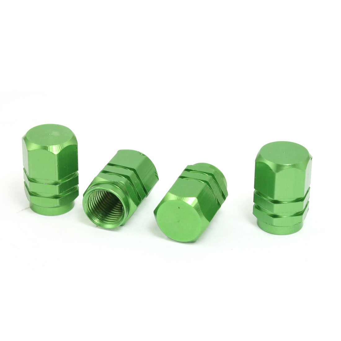 Car Vehicle Hexagon Tyre Tire Valve Stems Caps Cover Green 4 Pcs