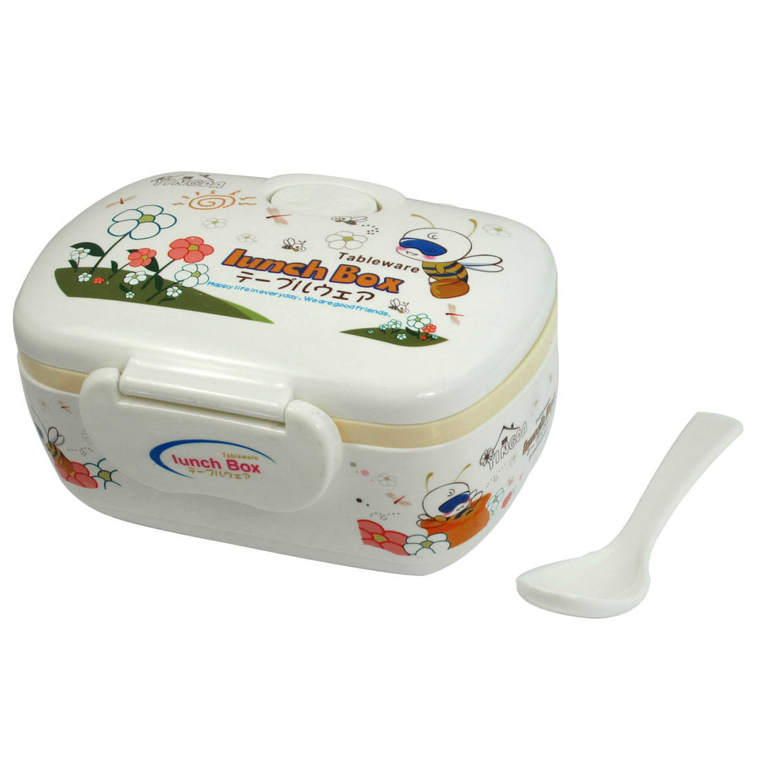 White Plastic Cartoon Pattern Rectangle Double Layers Lunch Box Case