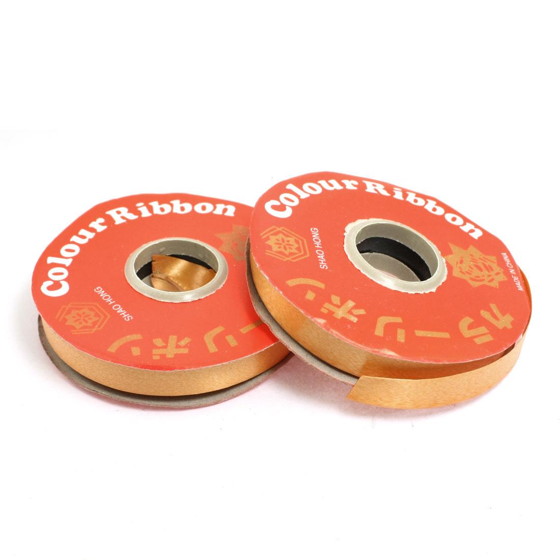 Gift Wrapping DIY Orange Ribbon Roll Tape 1.3cm Width 2 Pcs