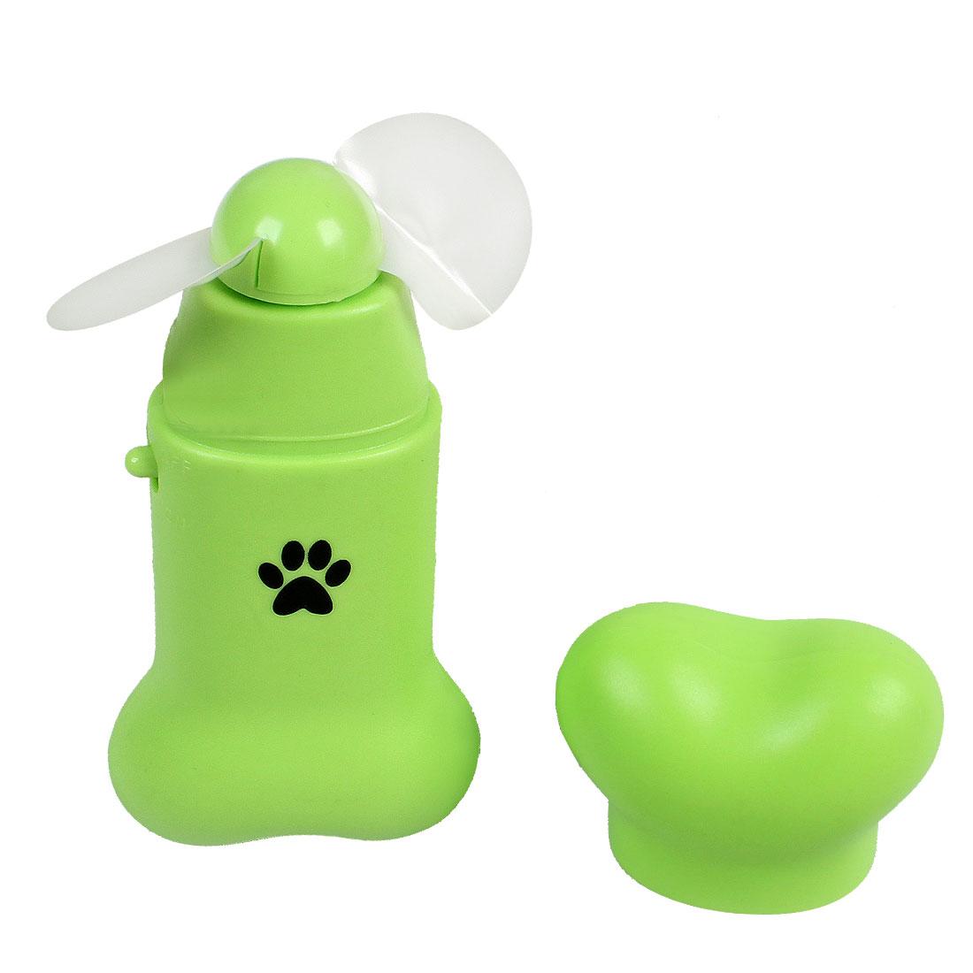 Green Plastic Shell Bone Style Mini Pocket Fan Green w Strap