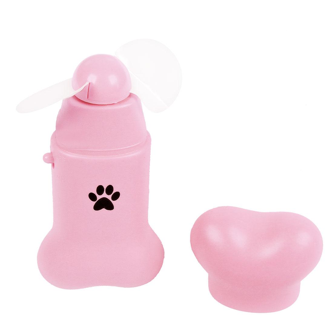Pink Plastic Shell Bone Style Mini Pocket Fan Green w Strap