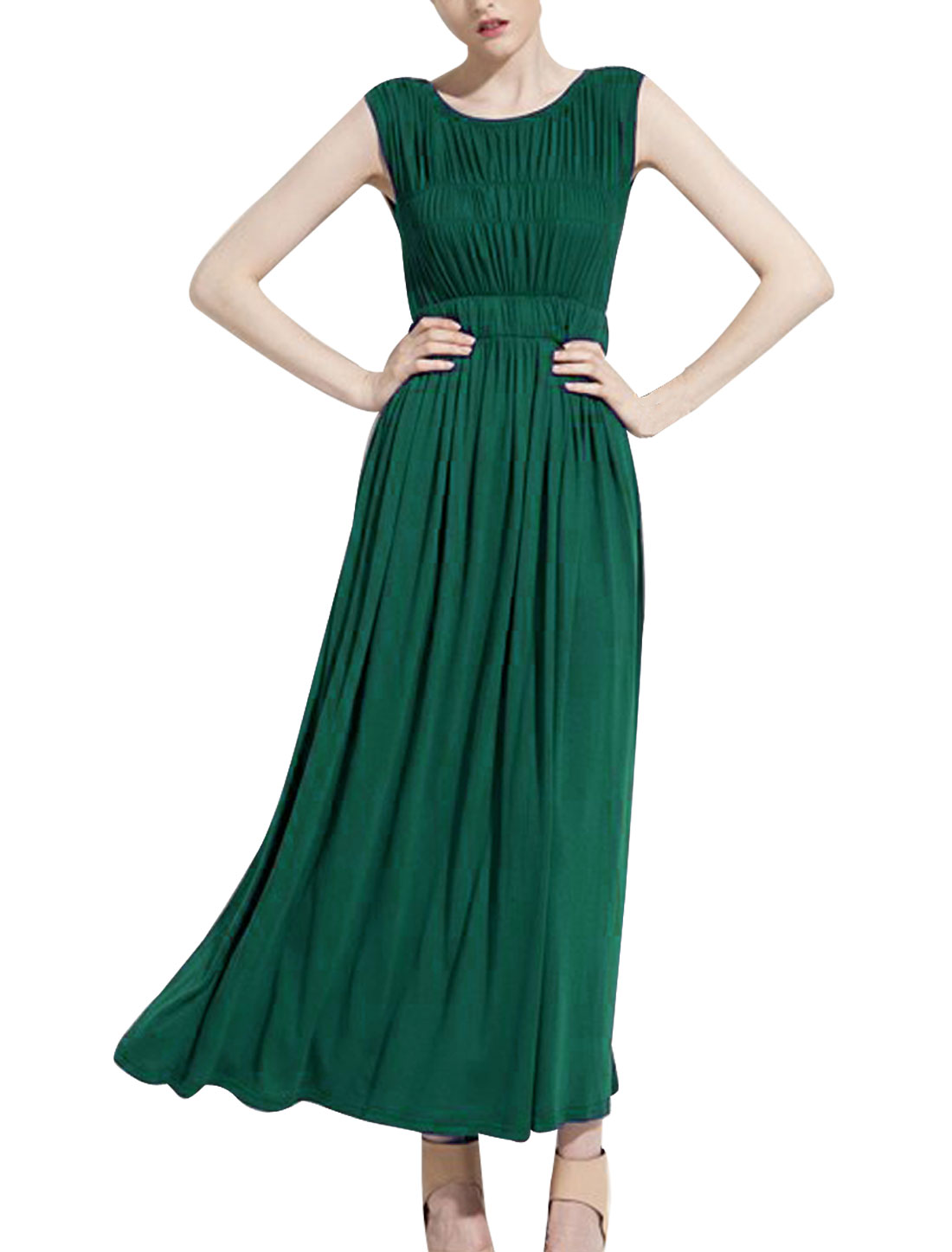 Ladies Elastic Waist Full Length Layered Chic Dress Green XS