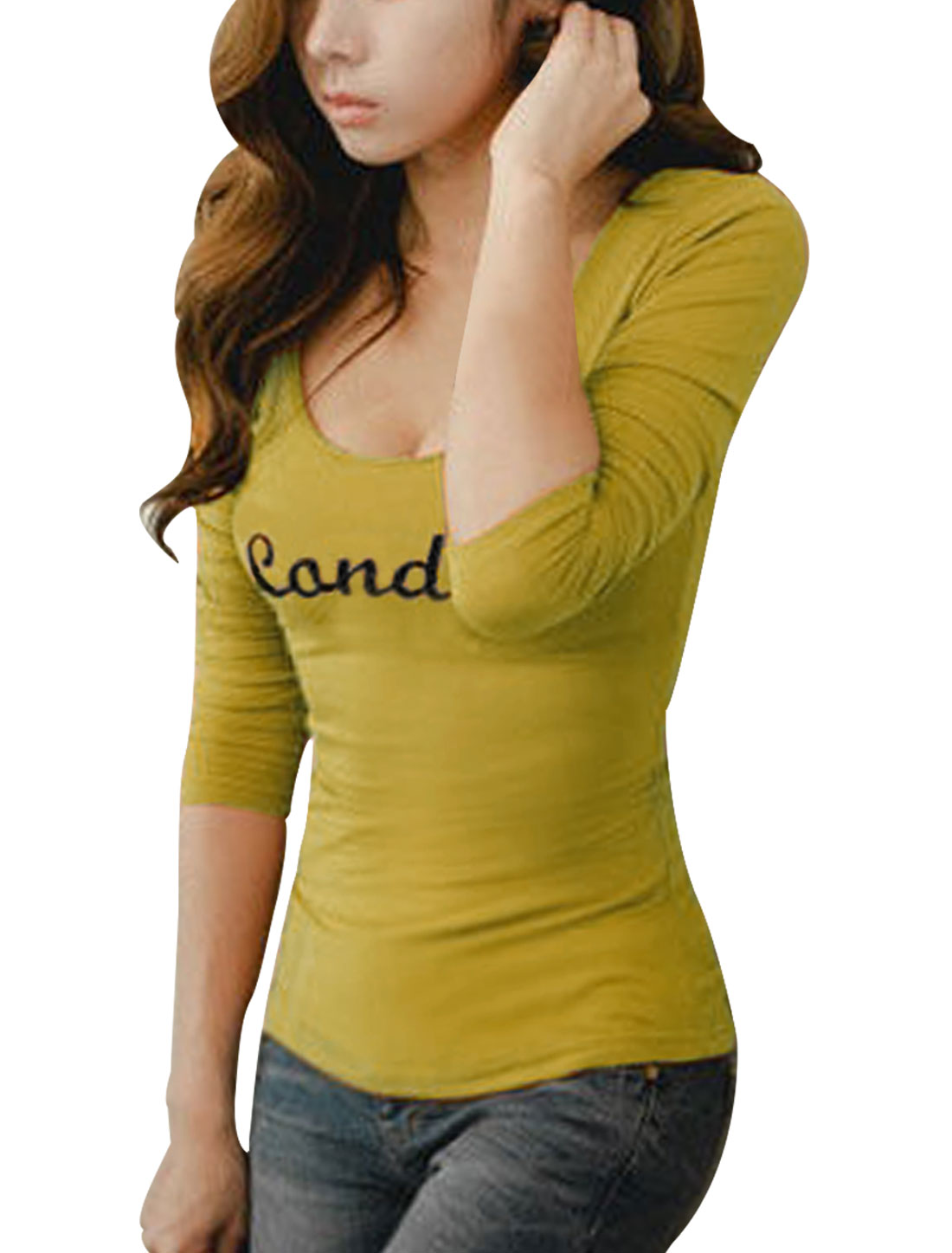 Women Deep U Neck Long Sleeve Slim Fit Fashion Mustard Spring Shirt XS