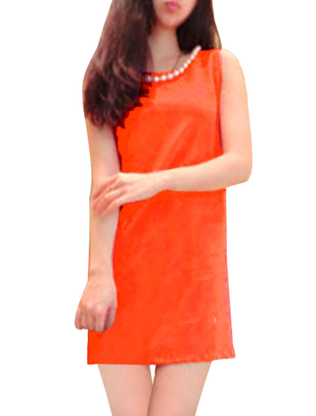 Women Round Neck Pullover Sleeveless Plastic Pearl Necklace Decor Casual Straight Dress Orange Red XS
