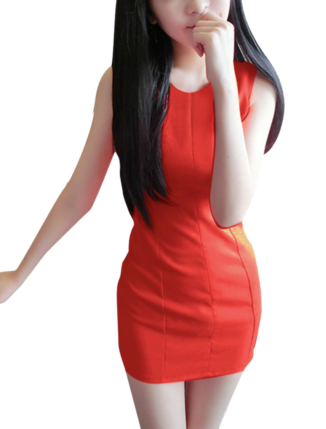 Women Stylish Cutout Front Detail Orange Red Mini Tank Dress XS