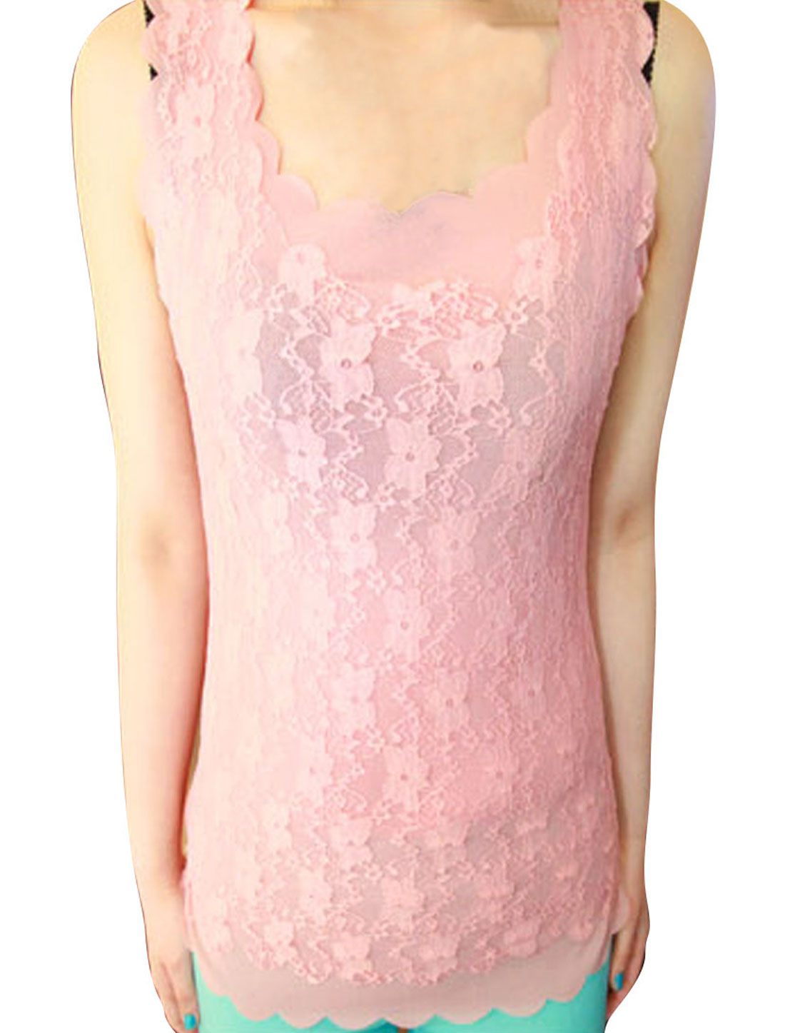 Women Lace Sleeveless Solid Color Wavy Hem Shirt Pink XS