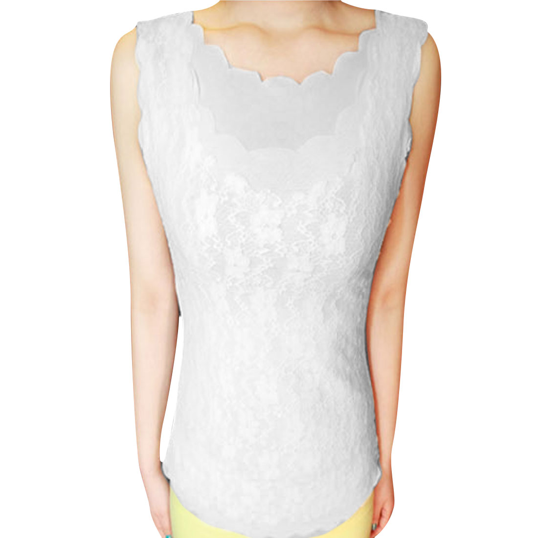 Women Mesh Lining Softness Sleeveless Lace Sexy Shirt White XS