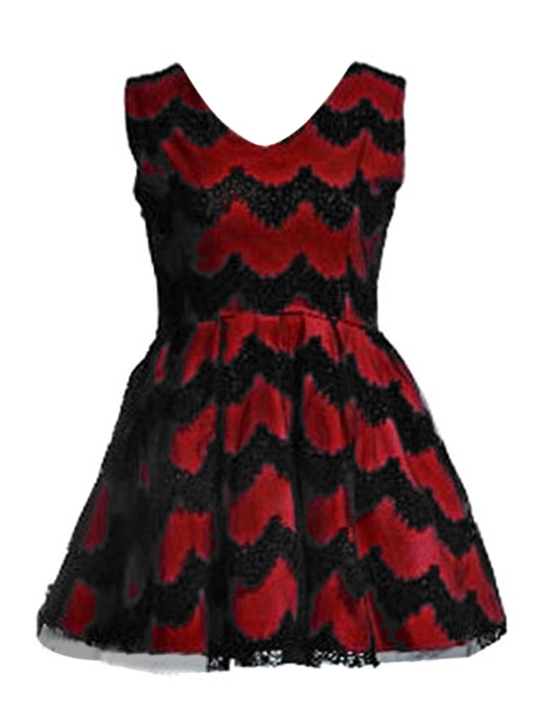 Women V Neck Zip Up Left Sleeveless Crochet Lace Dress Burgundy XS