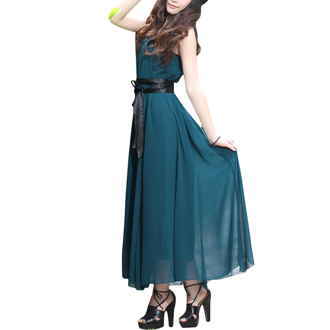 Ladies Dark Teal Color Scoop Neck Self Tie Waist Straps Chiffon Dress XS
