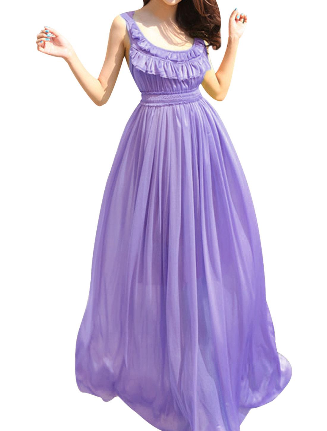 Ladies Light Purple Sleeveless Flouncing Detail Semi Sheer Maxi Dress XS