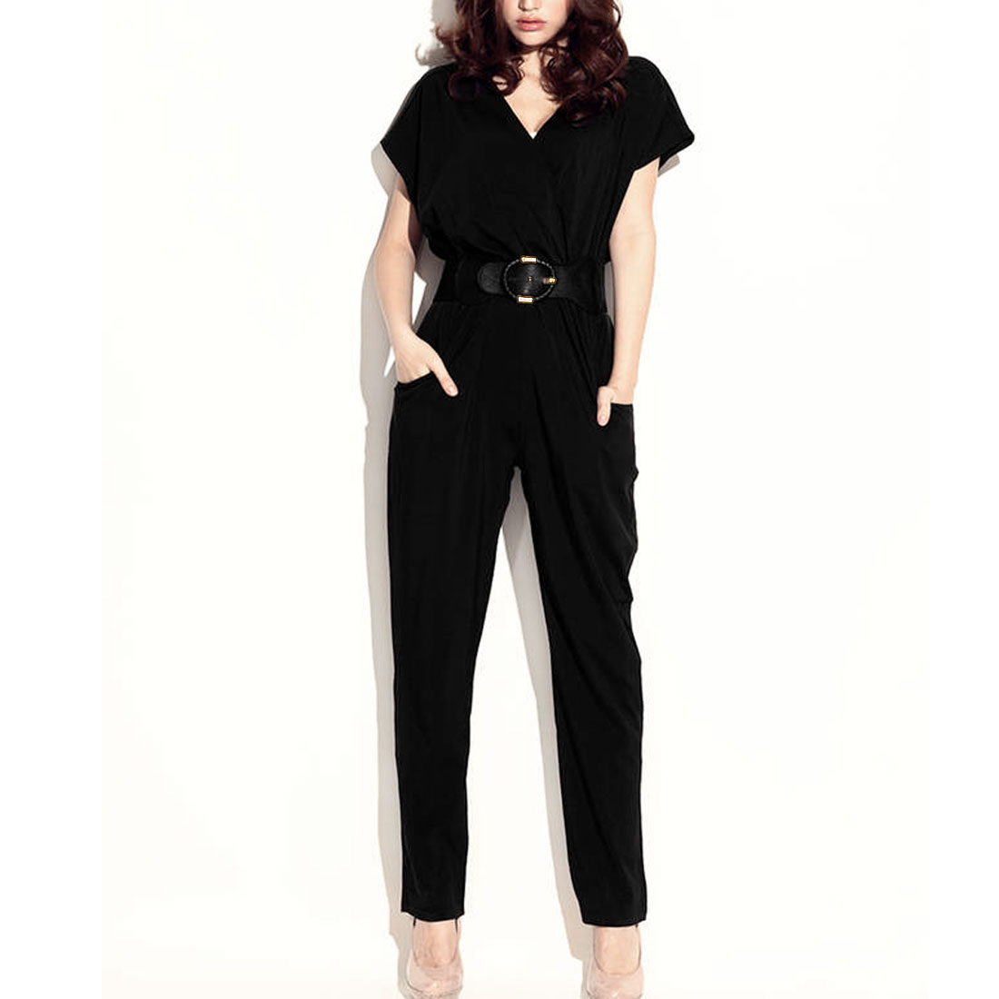 Women Sleeveless Full Length Fashion Jumpsuit Black XS