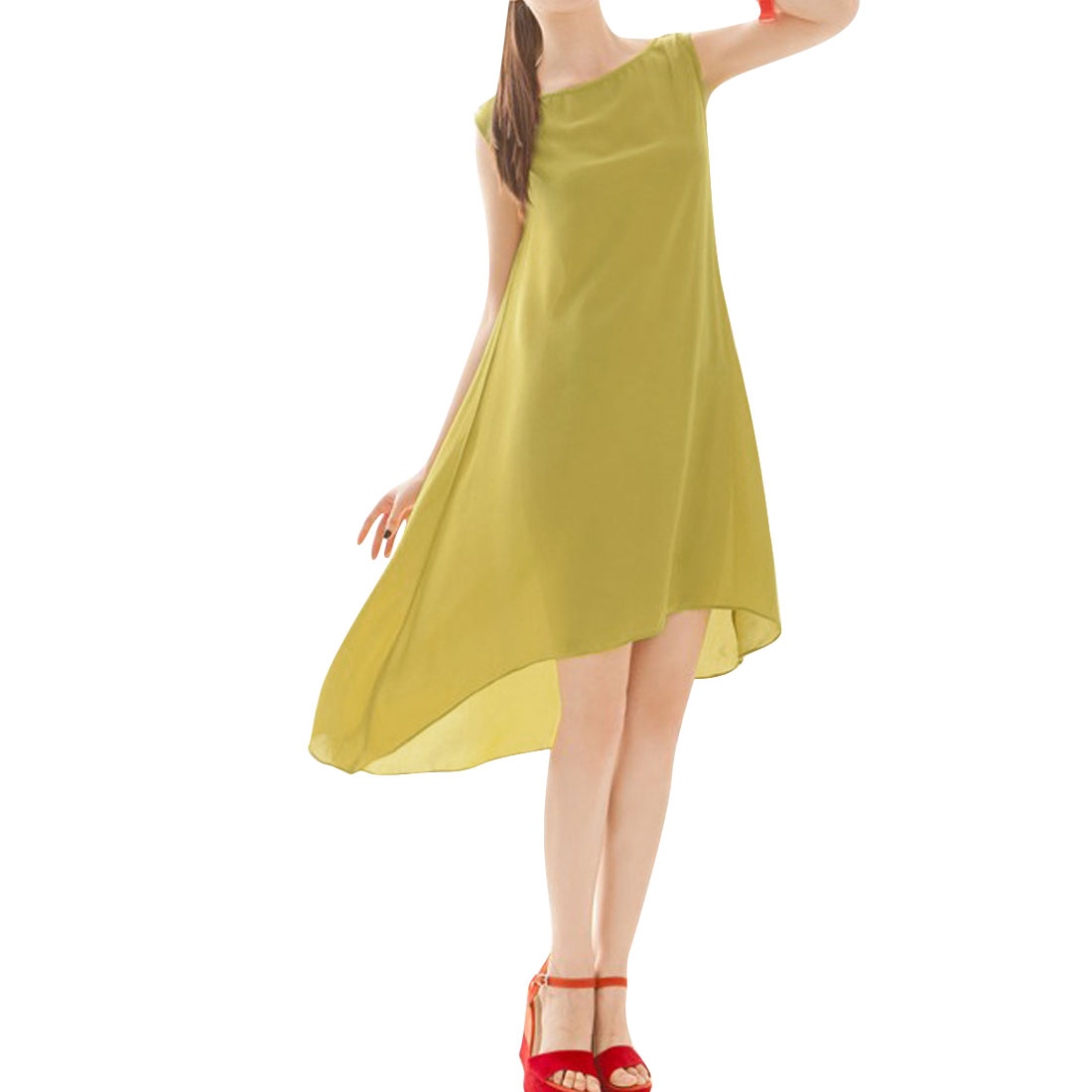 Ladies Round Neck Sleeveless Solid Color Chic Dress Yellow S