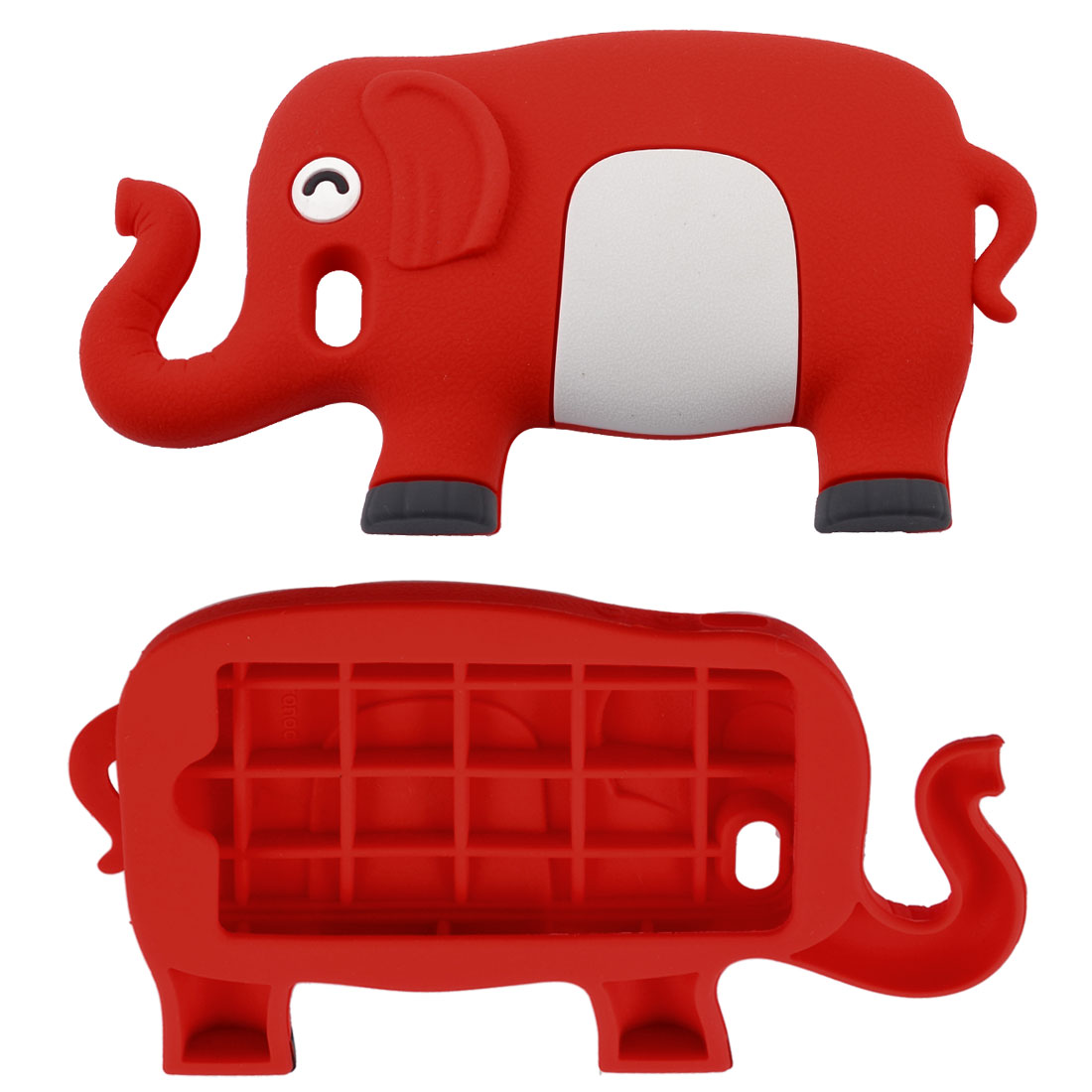 Red White Cartoon Elephant Silicone Soft Case Cover for iPhone 4 4G