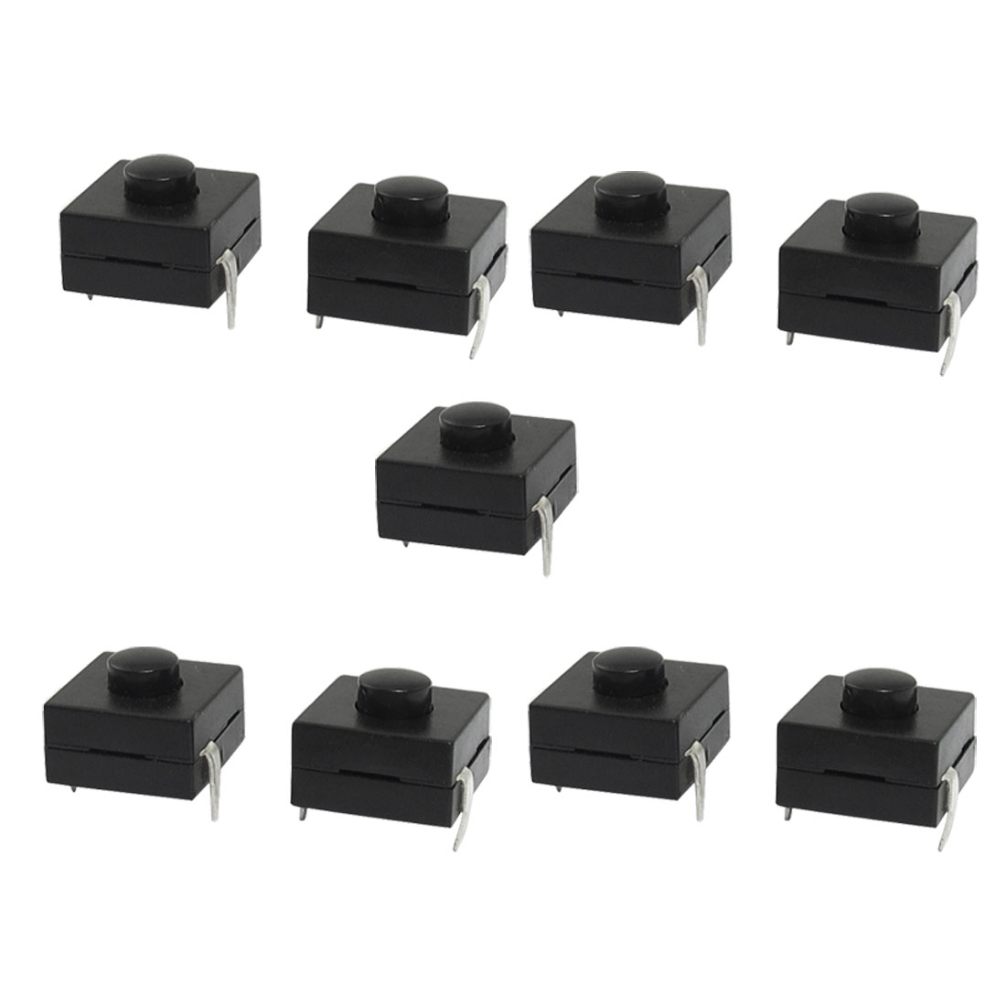 9 Pcs Vertical Square Push Button Switch Black for Electric Torch