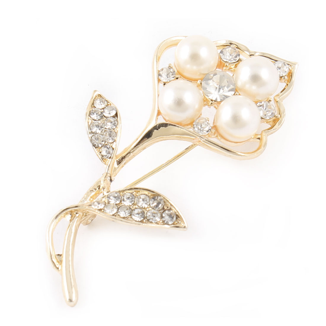 Girl Banquet Plastic Imitation Pearls Rhinestone Accent Safety Pin Brooch Gold Tone