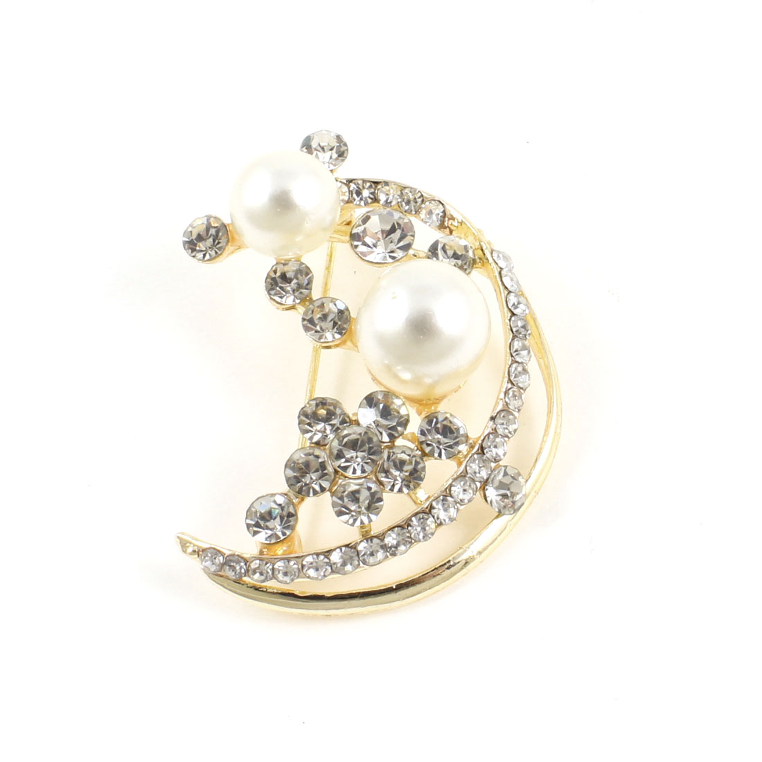 Rhinestone Accent Imitation Pearl Inlaid Moon Shape Pin Brooch for Ladies