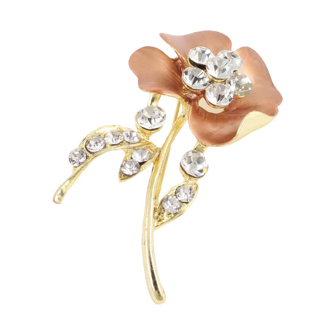 Ladies Copper Tone Petal Shiny Rhinestones Decor Breast Breastpin Pin Brooch